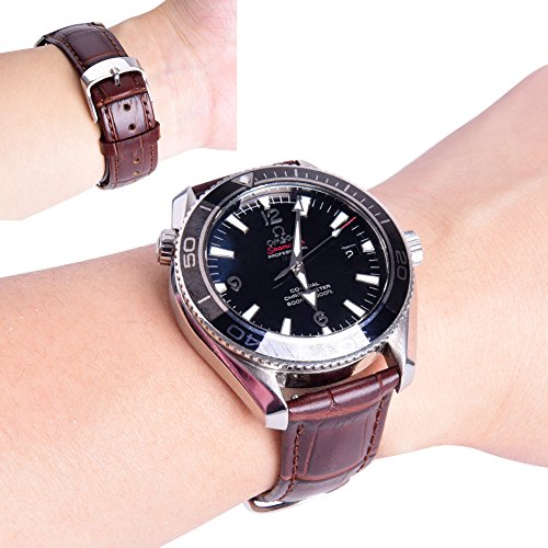 Ritche 18mm Black Brown Quick Release Genuine Leather Watch Bands Replacement Watch Strap for Men Women by Ritche (Image #4)