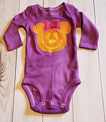 Halloween Minnie Pumpkin Jack O Lantern Purple Onesie