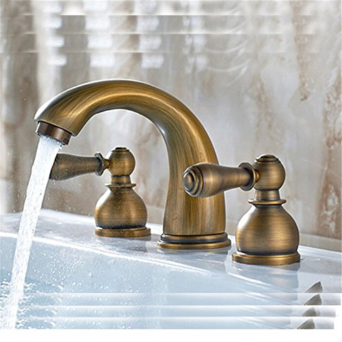 PHASAT Widespread Two Handles Three Holes Antique Brass Bathroom Sink Faucet  Vintage Basin Sink Mix Tap 3813N