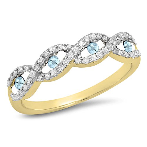 Dazzlingrock Collection 10K Round Aquamarine & White Diamond Bridal Stackable Wedding Band Swirl Ring, Yellow Gold, Size 6