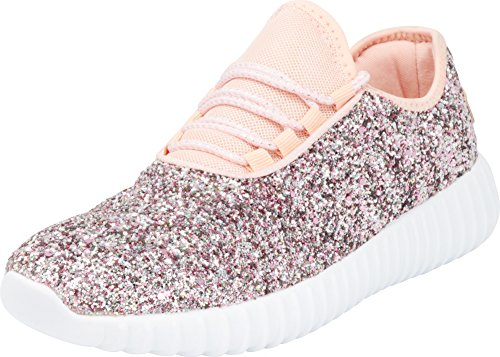 Cambridge Select Women's Closed Toe Glitter Encrusted Lace-Up Casual Sport Fashion Sneaker (8.5 B(M) US, Dusty Rose)