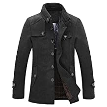 Cozy Age Mens Wool-Blend Pea Coat Winter Coat Quilted Jacket