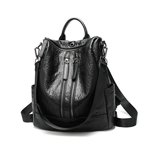 FIGROL Women Soft Leather Backpack Casual Travel Bag Multi-functional Waterproof Backpack with Headset Datecable Port(Black) by FIGROL