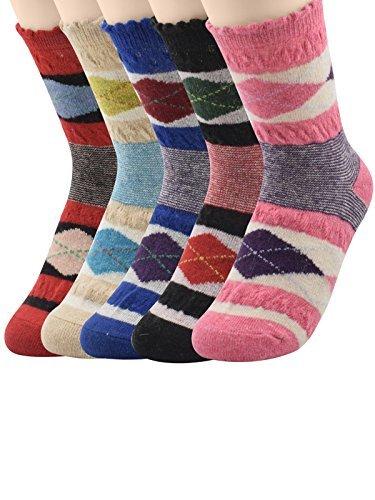 Century Star 5 Pairs Cashmere Wool Full Cushion Womens Crew Dress Socks A 5 Pack Diamond