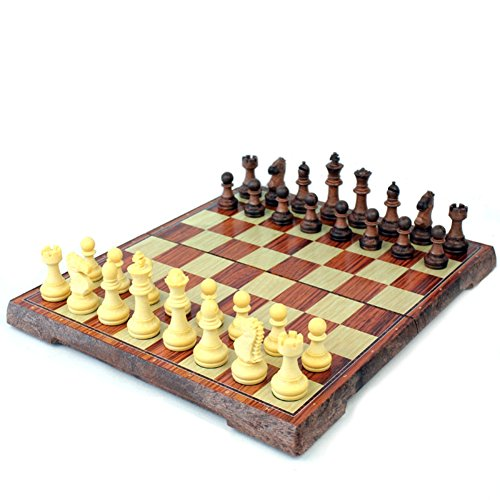 Shindn Magnetic imitation wood checkerboard Set with Folding Board and Chess Pieces Travel Set