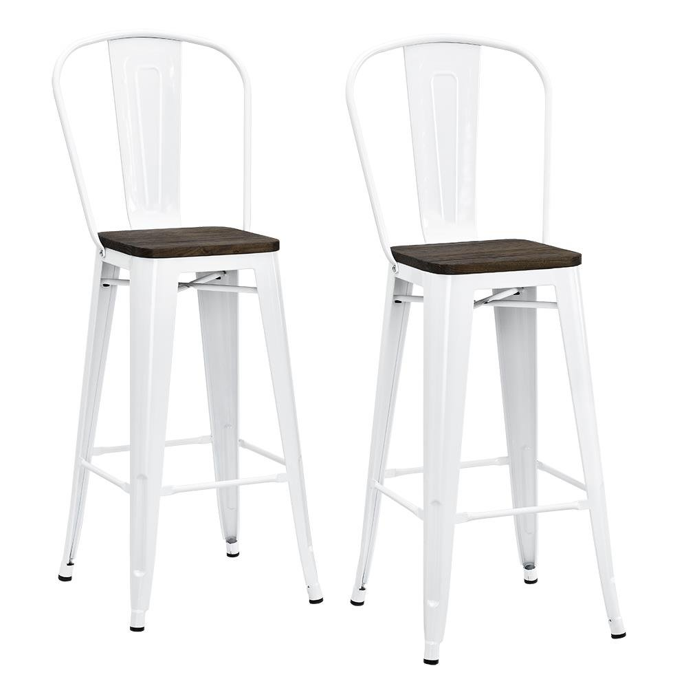 Fabulous Dhp Luxor Metal Counter Stool With Wood Seat And Backrest Set Of Two 30 White Ocoug Best Dining Table And Chair Ideas Images Ocougorg