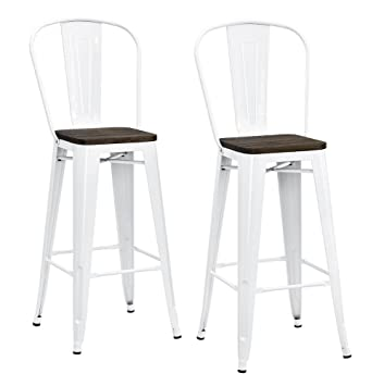 Magnificent Dhp Luxor Metal Counter Stool With Wood Seat And Backrest Set Of Two 30 White Pabps2019 Chair Design Images Pabps2019Com