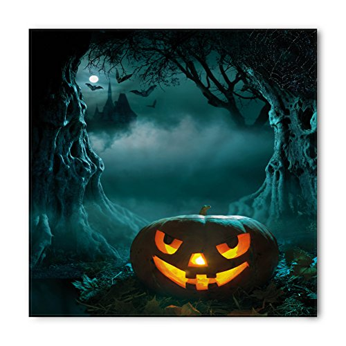 Lunarable Unisex Bandana, Halloween Carved Pumpkin in Forest, Orange Teal]()