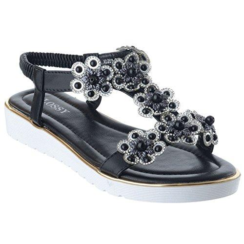 Miss Image UK Womens Ladies New Flat Low Wedge Flower Gem Diamante Summer Comfort Sandals Size Black pmEzJof