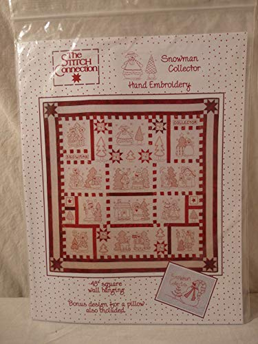 (Snowman Collector Redwork Hand Embroidery Quilt Pattern)