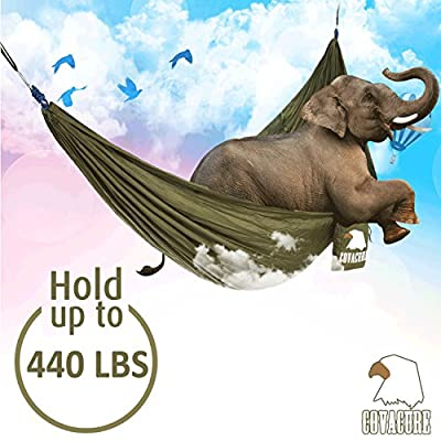 Camping Hammock - COVACURE Lightweight Portable Double Parachute Hammocks, Mosquito Nylon Hammock for Indoor,Outdoor, Hiking, Camping, Backpacking, Travel, Backyard, Beach