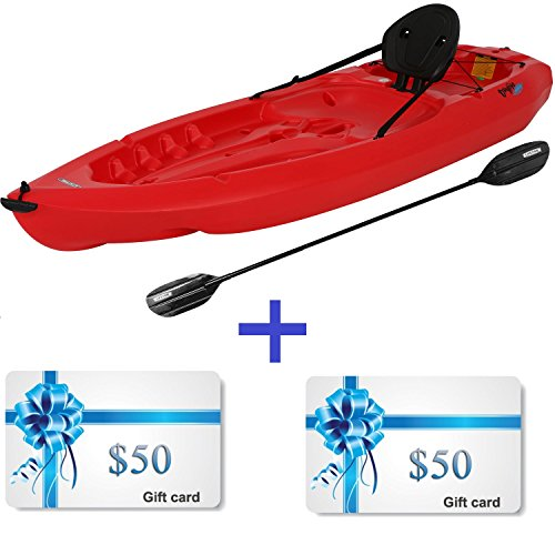 Lightweight Kayak Hard Shell with Paddle for Kids, Large Adult & Dog. Canoe Boat Hardshell 8 Ft Adjustable Seat & Storage Compartment. Recreational 38 Pound to Fishing any Saltwater Ocean River Lake by Lifetime Hard Shell Kayak