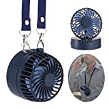 Leegoal Mini Portable Fan, Handheld Table Necklace Fan with Rechargeable Battery, 180°Rotating Adjustment, 3 Speeds Setting, Male Up Mirror for Traveling, Fishing, Camping, Outdoor, Navy Blue