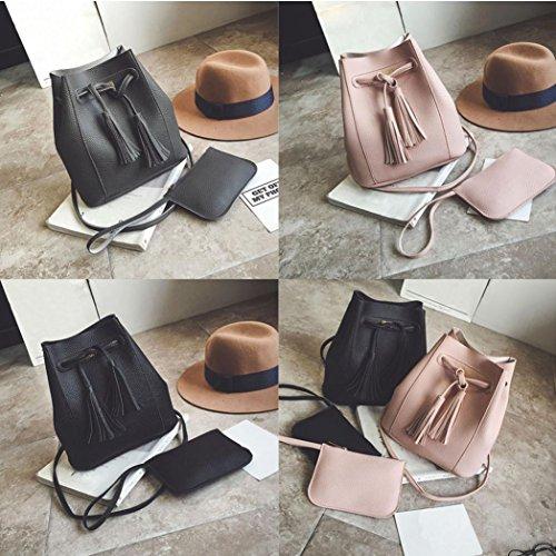 BZLine® Frauen Messenger Umhängetasche Leder Tasche + Geldbörse, 24*25*10cm (Dunkelgrau) Dunkelgrau