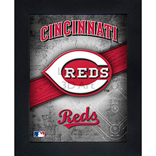 Cincinnati Reds 3D Poster Wall Art Decor Framed Print | 14.5x18.5 | Lenticular Posters & Pictures | Memorabilia Gifts for Guys & Girls Bedroom | MLB Baseball Sports Team Fan Poster for Man Cave