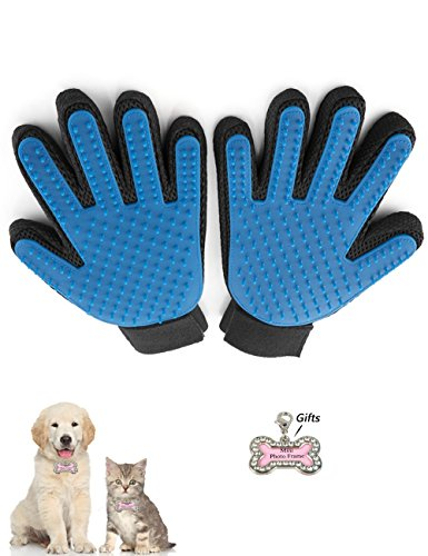 Pet Dog Cat Grooming Glove, True Touch Shedding Hair Clean up, Healthcare Bath Glove Hair Removal Brush with Pet ID Tags Rhinestone Pet ID Tags Rhinestone by Standard (left+right)