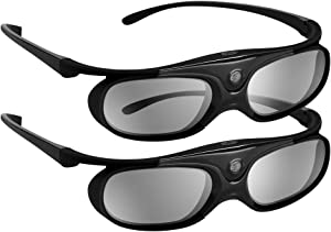 BOBLOV DLP Link 3D Glasses Active Shutter 144Hz Rechargeable for All DLP-Link 3D Projectors, Can't Used for TVs, Compatible with BenQ, Optoma, Dell, Acer, Viewsonic DLP Projector (Black- 2Pack)