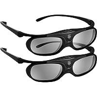 Boblov 3D Lunettes 3D Glasses Active Shutter DLP-Link USB pour BenQ W1070 W700 Dell (Noir, Lot 2)