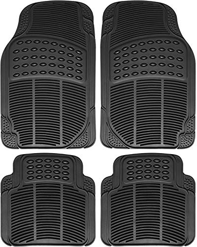 Motorup America Auto Floor Mats (4-Piece Set) All Season Rubber - Fits Select Vehicles Car Truck Van SUV, Ridge Black
