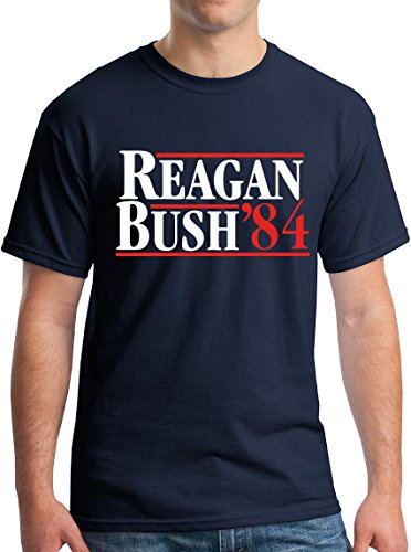 Mens 80s Clothes (Mens Reagan Bush 84 Republican Presidential Election Fox Tee XL-nvy)