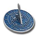 The Metal Foundry Personalised 25th Silver Wedding Anniversary Large Sundial Gift Idea is A Great Present for Him, for Her Or for A Couple to Celebrate 25 Years of Marriage