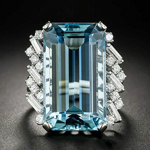 Vintage Fashion Women 925 Silver Aquamarine Gemstone Ring Emerald Cut Blue Aquamarine Wedding Jewelry Ring Size 6-10 (9) ()