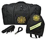 Lightning X Firefighter Turnout Gear Package - Gear Bag, SCBA Mask Bag, Fire Glove Strap, Shoulder Strap (Black)