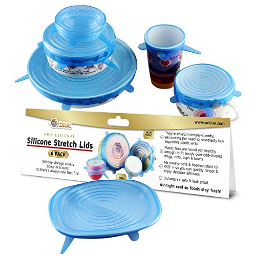 ORBLUE Silicone Stretch Lids, 6-Pack of Various Sizes by Orblue (Image #8)
