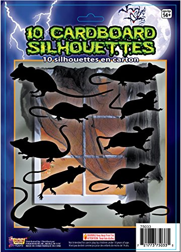 Forum Novelties 10 Piece Silhouette Shadow Rats, (Black Silhouette Halloween)