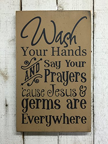Susie85Electra Bathroom Sign Wash Your Hands And Say Your Prayers Jesus And Germs Are Everywhere Wood Signs Plaque Rustic for Home Decor Funny Gifts Sign