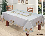 Creative Linens Embroidered Easter Bunny Egg Floral Tablecloth 70x120 Rectangular With 12 Napkins White