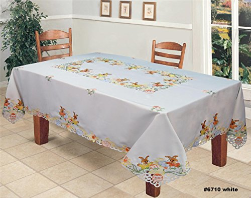 (Creative Linens Embroidered Easter Bunny Egg Floral Tablecloth 70x120 Rectangular with 12 Napkins)