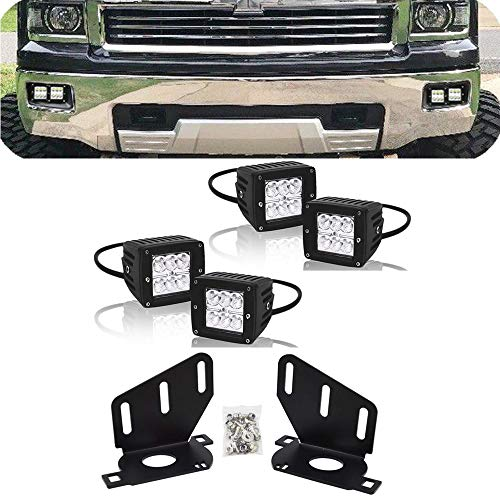 DaSen 4PCS 3 Inch LED Pod lights w/Hidden Bumper Fog Light Mounting Brackets Kit Fit 2014 2015 Chevy Silverado 1500 ()