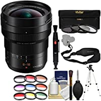 Panasonic Lumix G DG Vario-Elmarit 8-18mm f/2.8-4.0 ASPH Zoom Lens with 3 UV/CPL/ND8 & 9 Color Filters + Tripod + Strap + Kit