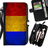 Graphic4You Vintage Romanian Flag of Romania Design Zipper Wallet With Strap Card Holder Case Cover for Apple iPhone 6 Plus / 6S Plus