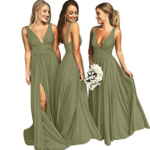 Bridesmaid Dresses Long V Neck Backless Split Beach Wedding Evening Prom Dress for Women Sage Size4