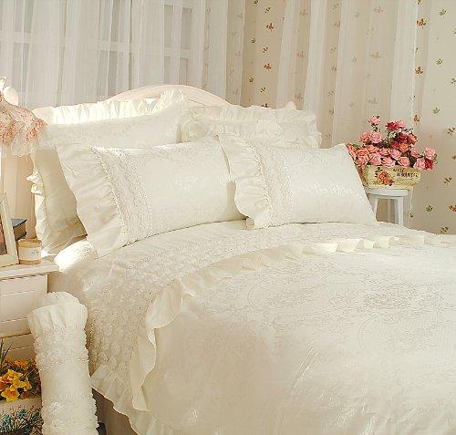 Diaidi korean bedding wedding bed cover cream bedding set for Bride kitchen queen set