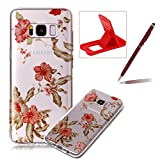 Glitter Clear Case for Samsung Galaxy S8 Plus,Crystal TPU Cover for Samsung Galaxy S8 Plus,Herzzer Ultra Slim Creative [Colorful Pattern] Bling Sparkly IMD Design Shock-Absorbing Soft Silicone Gel Bumper Cover Flexible TPU Transparent Skin Protective Case for Samsung Galaxy S8 Plus + 1 x Free Red Cellphone Kickstand + 1 x Free Claret-Red Stylus Pen