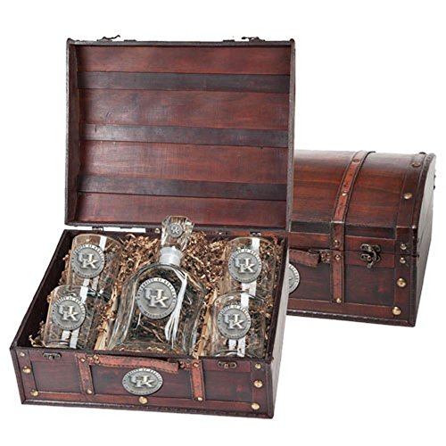 Kentucky Wildcats Capitol Decanter Wood Chest Set by Heritage Metalwork