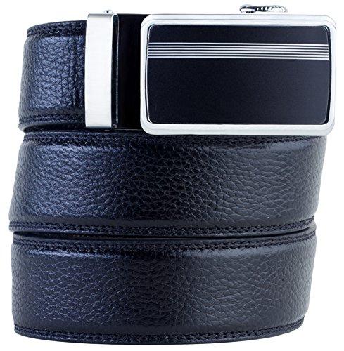 Mens Premium Leather Dress Belt (Mens Genuine Leather Belt Ratchet Dress Belt Automatic Buckle (+1 Free) Gift)