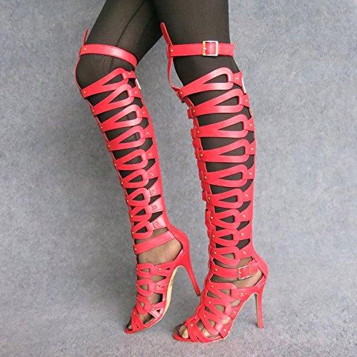 Rome Dames Candy Haut Mode Pour Lin gules Xing Talon Femmes Super Sandales Boots Super Couleur Sandales Évidée q0tSxB