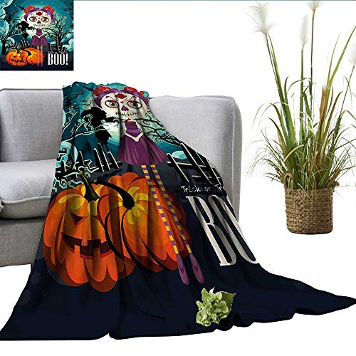 ScottDecor Halloween Coverlet Cartoon Girl with Sugar Skull Makeup Retro Seasonal Artwork Swirled Trees Boo Blankets Queen Size Multicolor W35 xL60