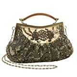 Elegant Olive Green Embroidered Hand Seed Beaded Fashion Evening Bag Clutch Purse w/ Swivel Handle and Detachable Chain, Bags Central
