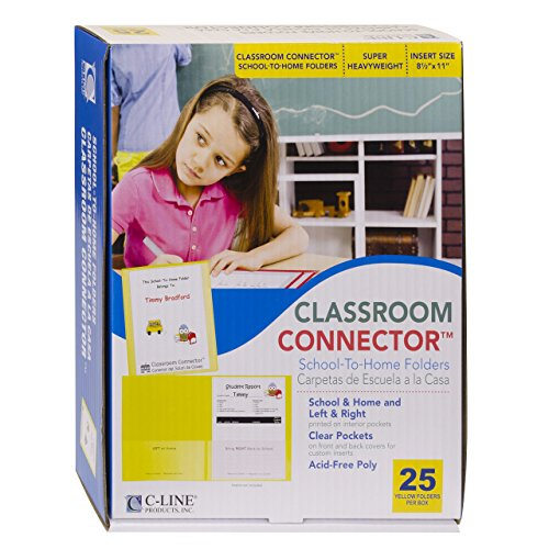 (C-Line Classroom Connector School-to-Home Folders, Yellow, 25 per Box)