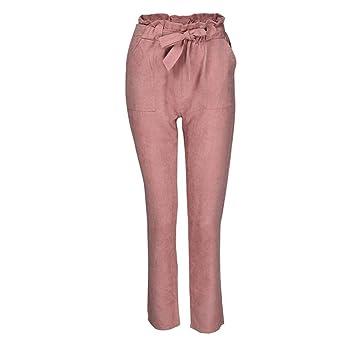 9c3f928bc72f8 ZHRUI Pantalons Femmes Taille Haute Self Tie Harem Pants Femmes Noeud  Papillon Taille élastique Pantalons décontractés
