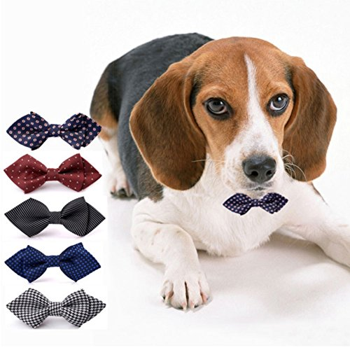 Stock Show 5Pcs/Pack Pet Dog Bowties Handcrafted Adorable Dog Cat Neckties Bow Ties Classic Scottish Plaid Polka Dots Houndstooth 5 Pattern Perfect for Wedding Tie Party (Dapper Dog Pet Costumes)