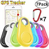 GBD 7 Pack GPS Tracker Smart Key Finder Locator with Bluetooth for Kids Boys Girls Pets Keys Wallet Keychain Car Dog Cat Child Bag Phone Alarm Anti Lost Selfie Shutter Wireless Seeker Birthday School