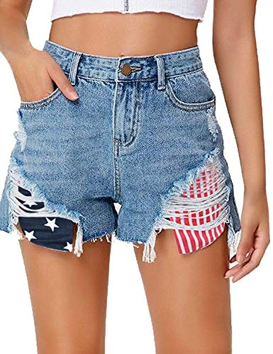 (LookbookStore Women's Mid Rise Frayed Ripped Raw Hem Jean Shorts Stars Striped Pockets Denim Pants Blue Size X-Large)