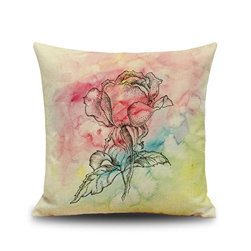 Crazy Cart Flowers Series Cotton Linen Home Decoration Cushion Throw Pillowcase 1818