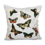 E by design O5PAN492WH1IV2-16 16 x 16'' Antique Butterflies and Flowers Animal White Outdoor Pillow